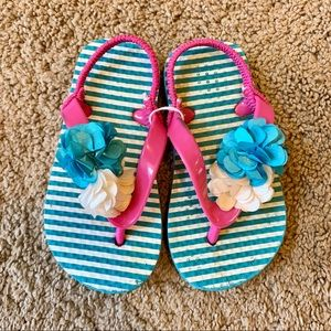 Girls Floral Striped Flip Flops Pink & Blue